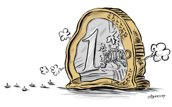 moneta da un euro che si sgonfia